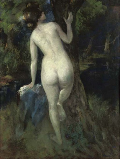Woman Bathing By A Stream
