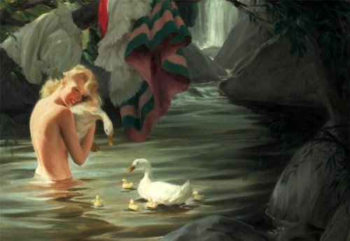 Young Blonde Beauty Bathing With A Family Of Peking Ducks