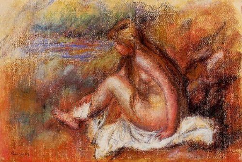 Bather Seated By The Sea