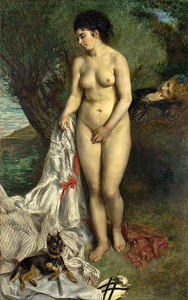 Bather With A Griffon Dog