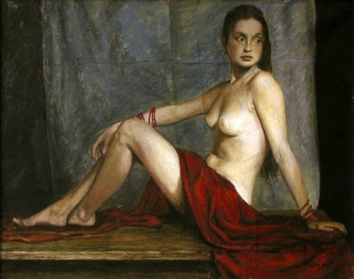 Nude With Red Drapery
