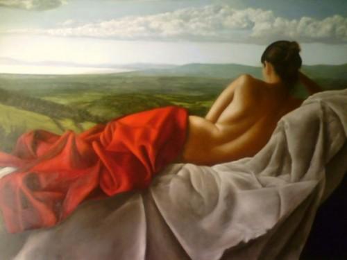 Nudo con paesaggio