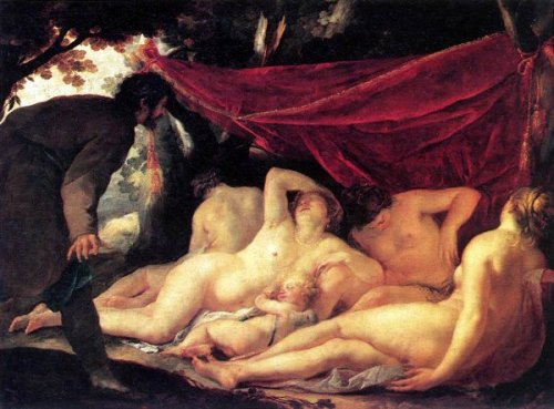 Venus And The Three Graces Surprised By A Mortal