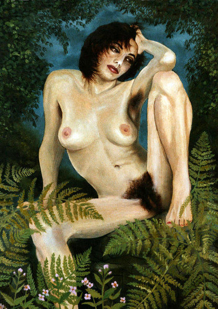 Woman And Ferns