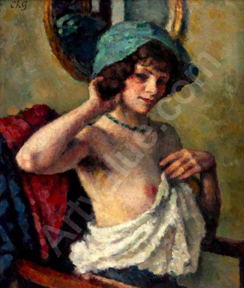 Femme au chapeau bleu