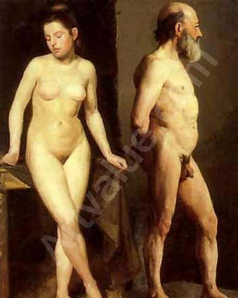 Man And Woman As Nude Models