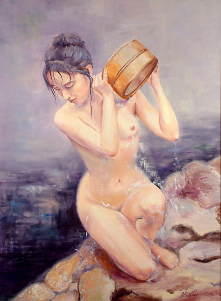 Japanese Woman In A Bath
