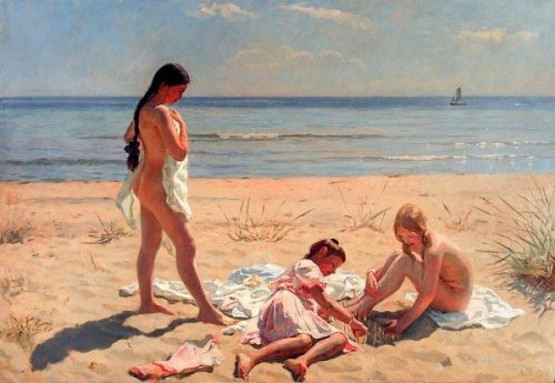 Summer Day At The Beach Of Skagen (Yvonne Tuxen, Nina Tuxen and Vibeke Krøyer)