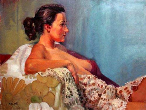 Magda con una mantilla de encaje