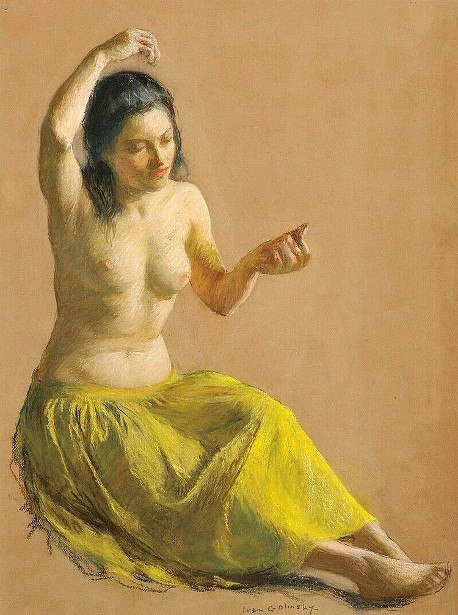 Seated Female Nude In A Chartreuse Skirt