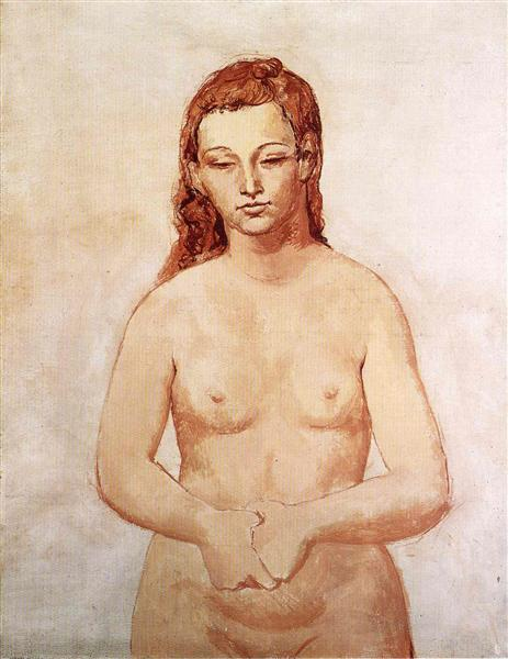 Nude With Her Hands Pressed To Each Other