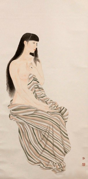 Nude With Striped Towel