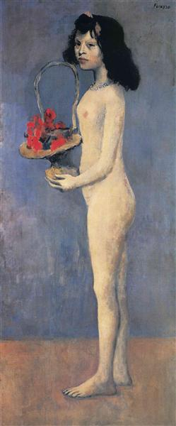 Young Naked Girl With Flower Basket