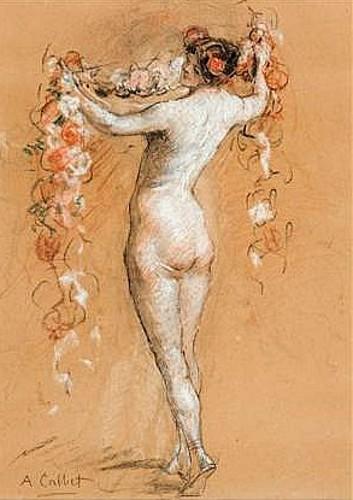 Femme nue à la guirlande