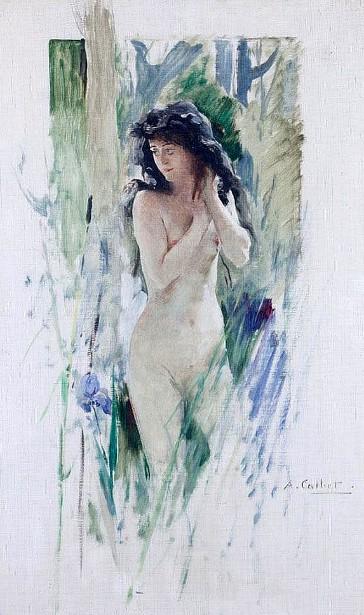 Femme nue, la main dans les cheveux