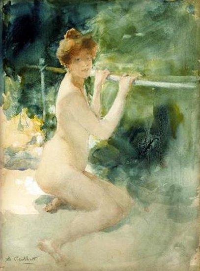 Jeune femme nue au chignon roux