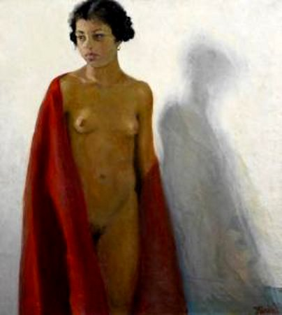 Standing Female Nude With Red Robe