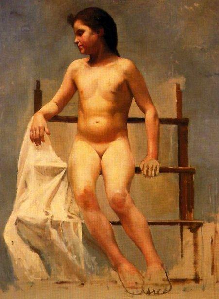Desnudo de niña sobre escalera