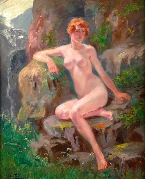 Desnudo entre rocas