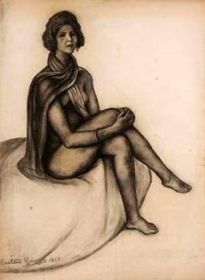 Femme nue à l'écharpe