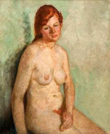 Jeune fille nue assise