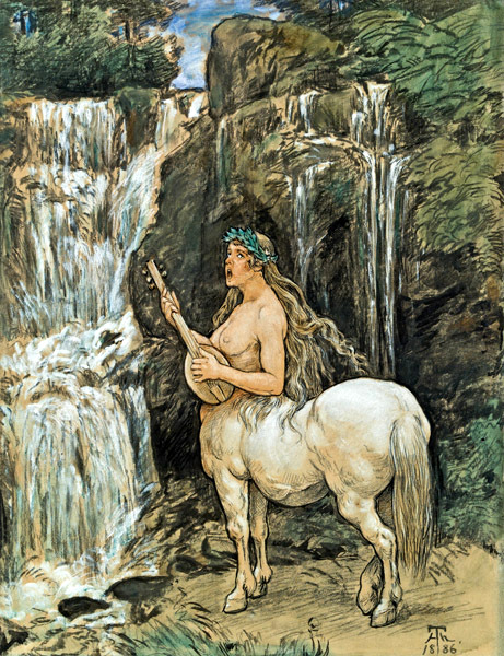 Female Centaur By A Waterfall