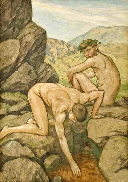 Two Boys By A Mountain Source
