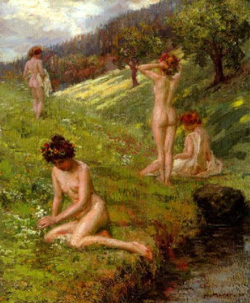 Four Nudes In Hills Landscape