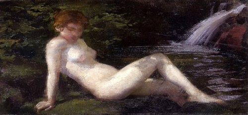 Nude Girl By A Stream