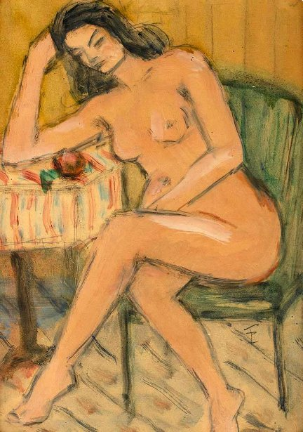 Nude In Green Chair