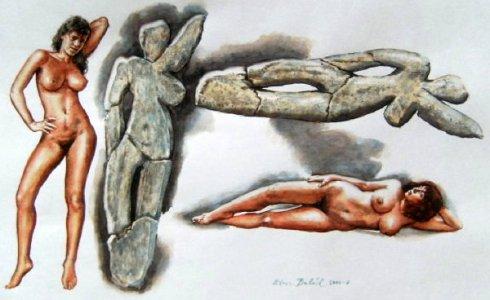 Aurignacian Culture - A Female Figure In Art Of Aurignacian