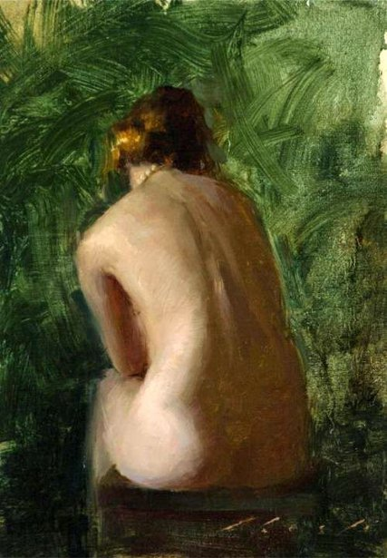 Nude Back Against Green