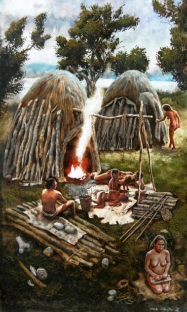 The Lower Palaeolithic - The Hunters Resting In The Camp Of Elephant Hunters in Bilzingsleben