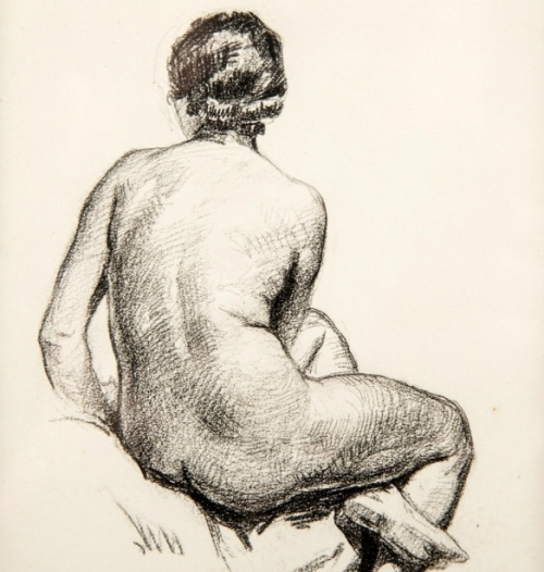 Back Of Seated Nude Woman