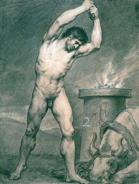 Man Standing Striking A Bull