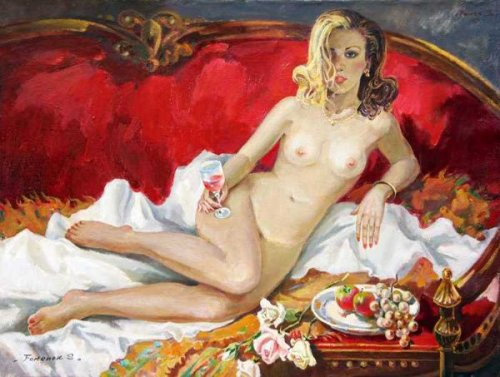 Nude On Red Sofa
