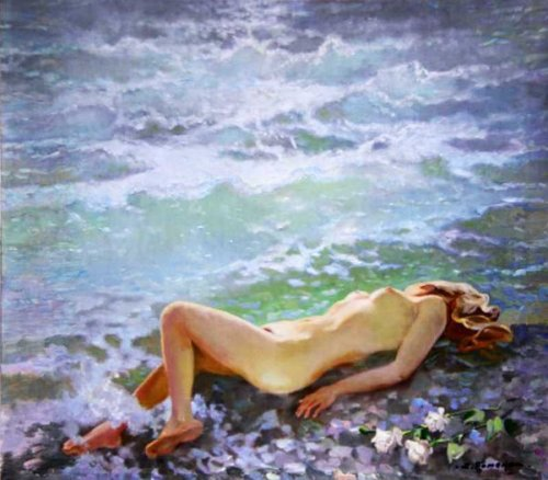 Reclining Nude By The Sea