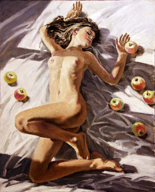 Reclining Nude With Apples