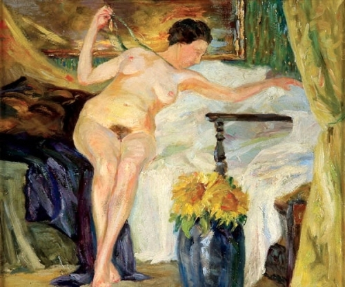Reclining Nude With Sunflowers