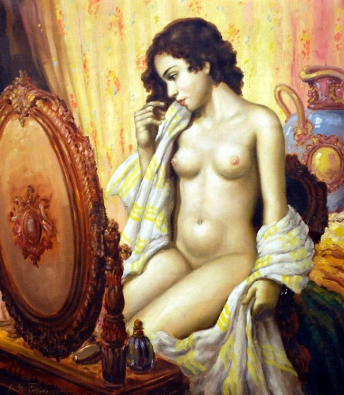 Female Nude Before The Mirror