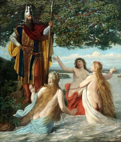 Hagen And The Three Rhine Maidens - Hagen With The Daughters Of Rhine