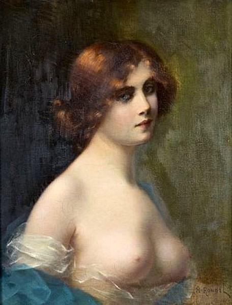 Jeune femme rousse aux seins découverts