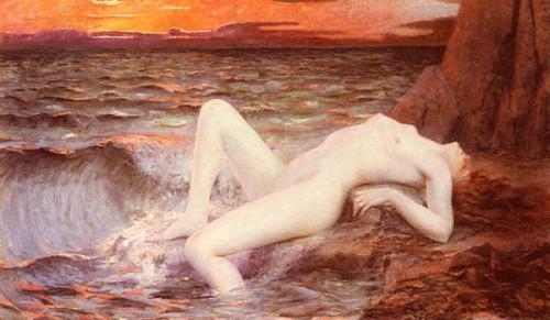 Jeune fille sortant de la vague