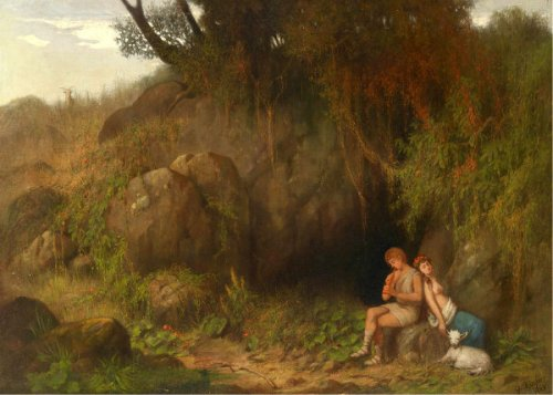 Romantic Scene With Shepherd Couple