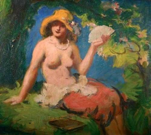 Seated Topless Girl In A Hat With Fan