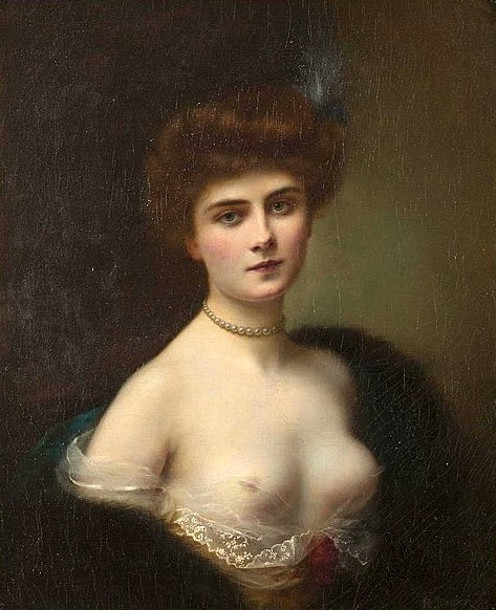 Woman With Pearl Necklace And Fur Wrap