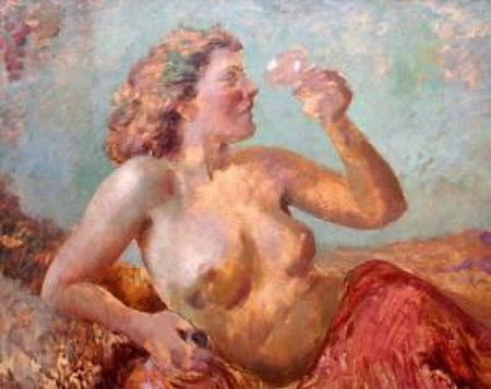 Female Nude With A Glass Of Wine