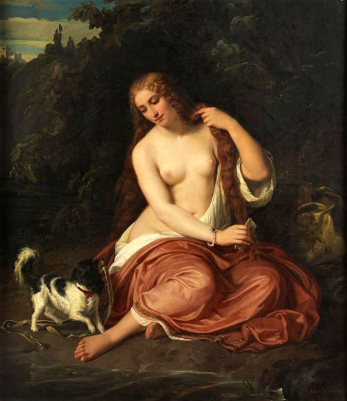Half Naked Young Girl With Puppy In Idyllic Landscape