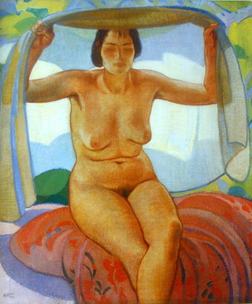 Sitting Nude With Gauze