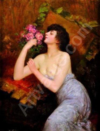 Jeune femme tenant un bouquet
